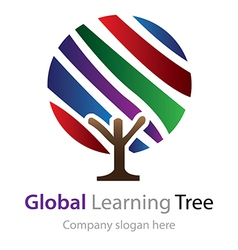 Abstract global learning tree logo vector