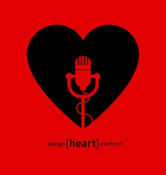 Abstract design element heart with microphone vector