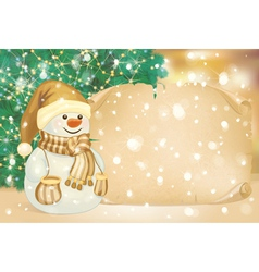 Snowman gold card vector