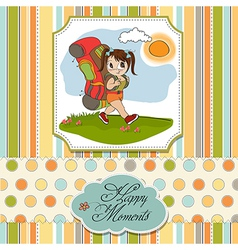 Traveling tourist girl with backpack vector