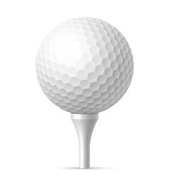 Golf ball on white tee vector