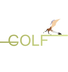 Golfer lawnmower vector