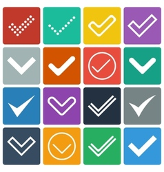 Set of icons ticks check marks vector