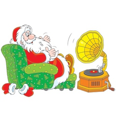 Santa claus listening to music vector