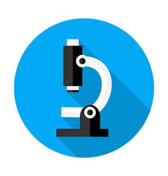 Microscope flat circle icon vector