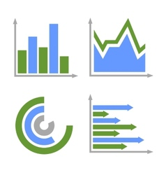 Blue and green business graph icons set vector
