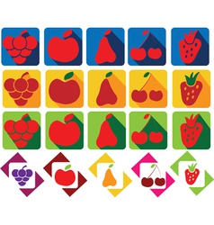 Set of fruits and berries icons vector