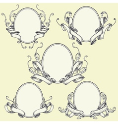 Ribbon frame and border ornaments set 04 vector