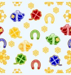 Seamless texture symbols for luck piggy cloverleaf vector