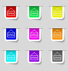 Open icon sign set of multicolored modern labels vector