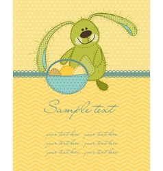 Cute easter bunny card vector