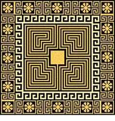 Set traditional vintage golden square greek orname vector
