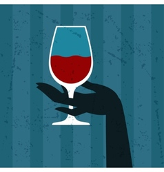 With glass of wine and hand vector
