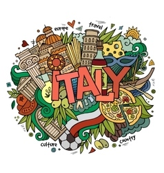 Italy hand lettering and doodles elements vector