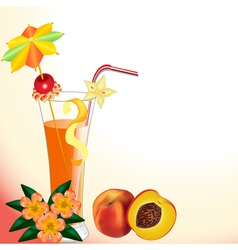Peach juice in a glass with a flower vector