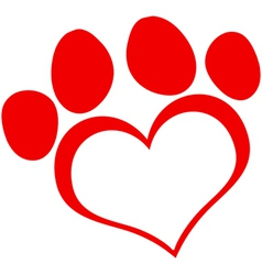 Red love paw print vector