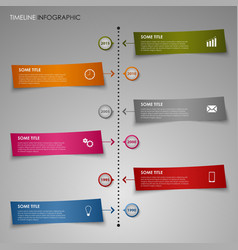 Time line info graphic color striped paper vector