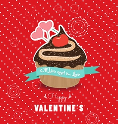 Happy valentines day cupcake sweet love vector