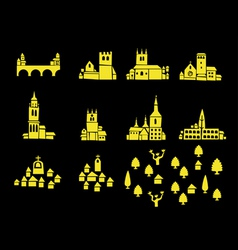 Icons of castles and houses vector