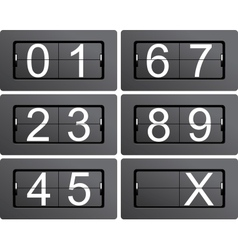 Numeric series 0 to 9 from mechanical scoreboard vector