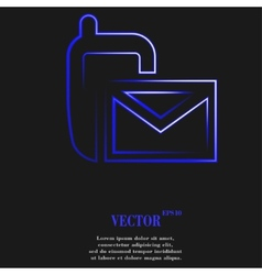 Sms flat modern web button and space for your text vector