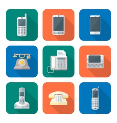 Colored flat style various phone devices icons set vector