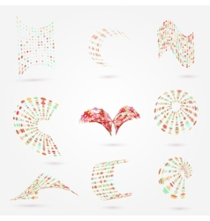 Abstract 3d dots business logo elements set vector