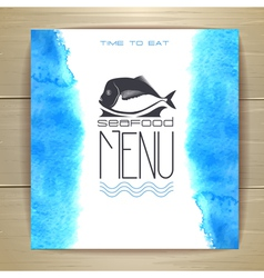 Seafood menu design with fish vector