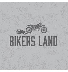Vintage grunge motorcycle with flames graphic vector