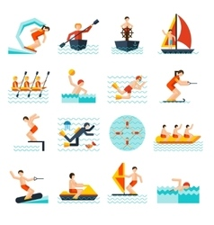 Water sports icons set vector