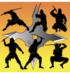 Group of ninja vector