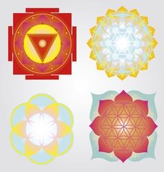 Mandalas and yantra set vector