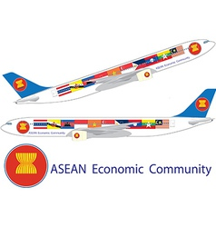 Asean economic community on airbus a330 vector