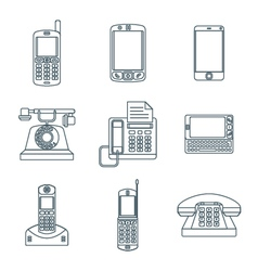 Dark outline various phone devices icons set vector