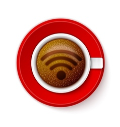 Cup of coffee with wi-fi symbol vector