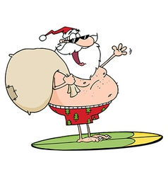 Jolly santa claus surfing with his sack vector