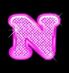 N letter pink bling girly vector