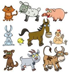 Farm animals doodle vector