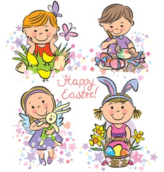 Kids celebrate easter vector