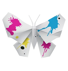 Paper butterfly with ink vector