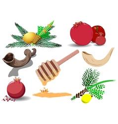 Jewish holidays symbols pack vector