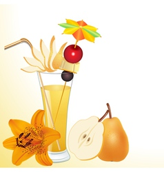 Pear juice in a glass with a flower vector