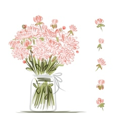 Vase with pink flowers sketch for your design vector