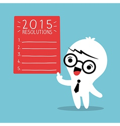 Businessman cartoon with 2015 new year resolutions vector