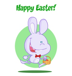 Purple bunny with an easter basket vector