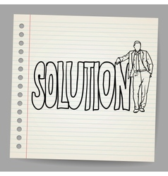Businessman with word solution vector