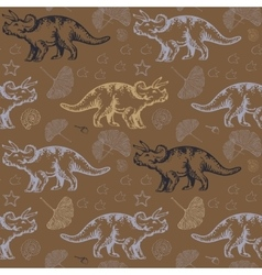 Jurassic triceratops seamless pattern vector