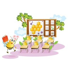 Honey bees in a classroom vector