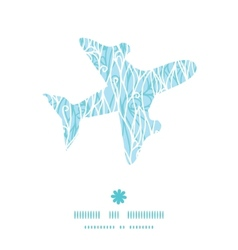 Abstract frost swirls texture airplane silhouette vector