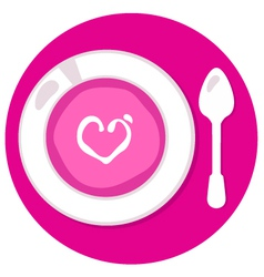 Pink valentines love soup in circle vector